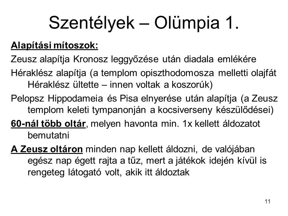 Szentélyek – Olümpia 1. Alapítási mítoszok: