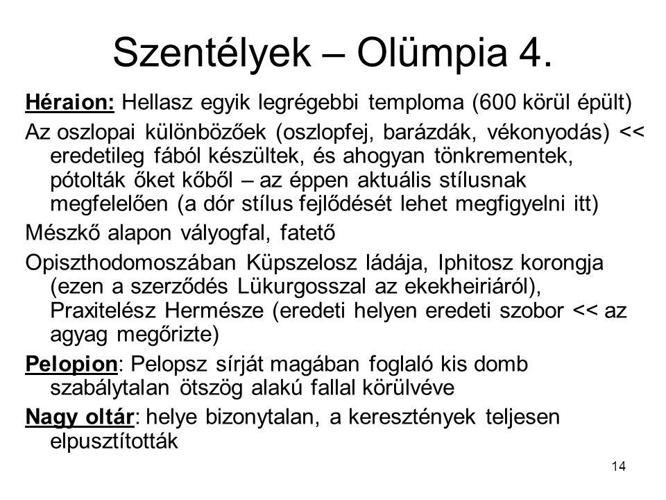 Szentélyek – Olümpia 4. Héraion: Hellasz egyik legrégebbi temploma (600 körül épült)