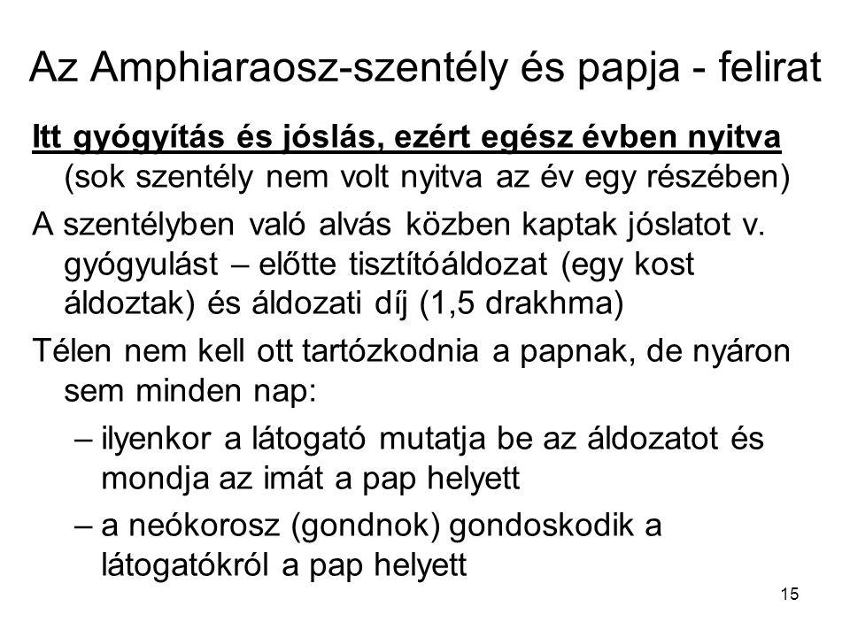 Az Amphiaraosz-szentély és papja - felirat