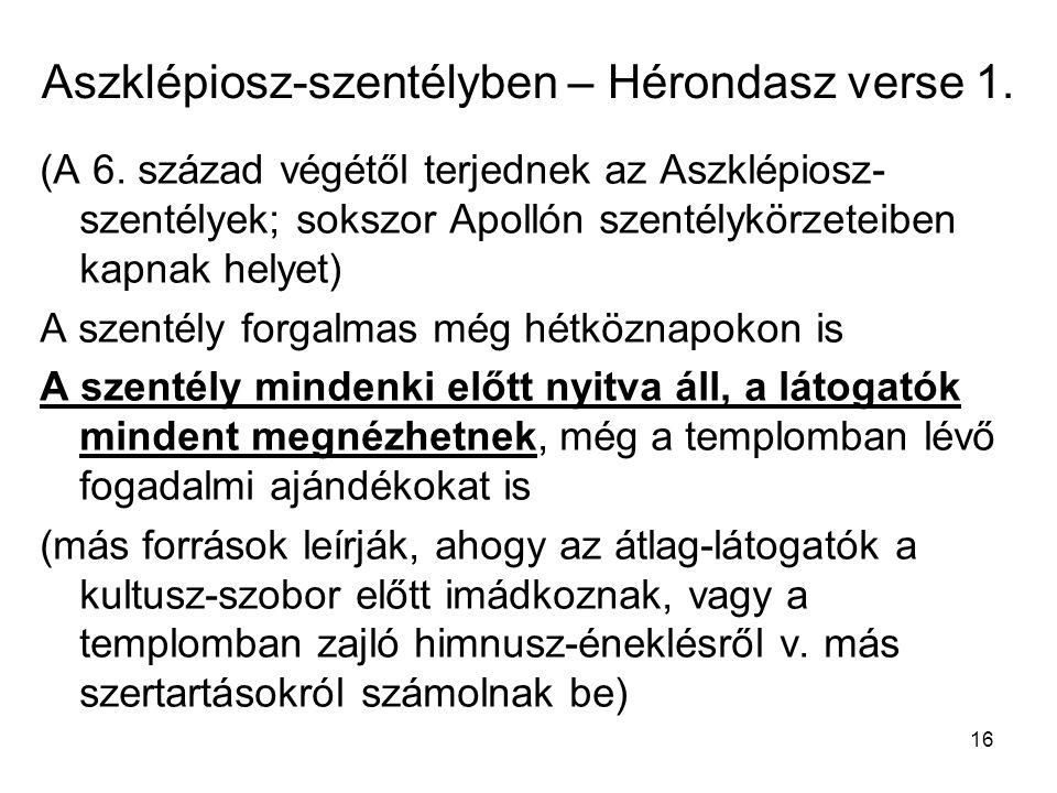 Aszklépiosz-szentélyben – Hérondasz verse 1.