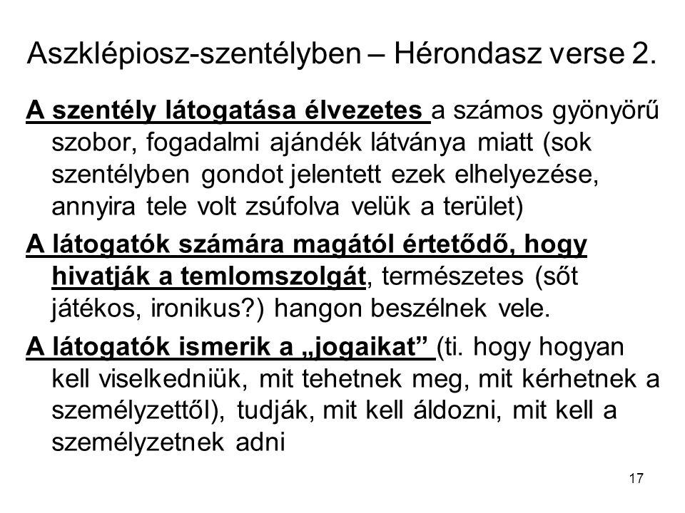 Aszklépiosz-szentélyben – Hérondasz verse 2.