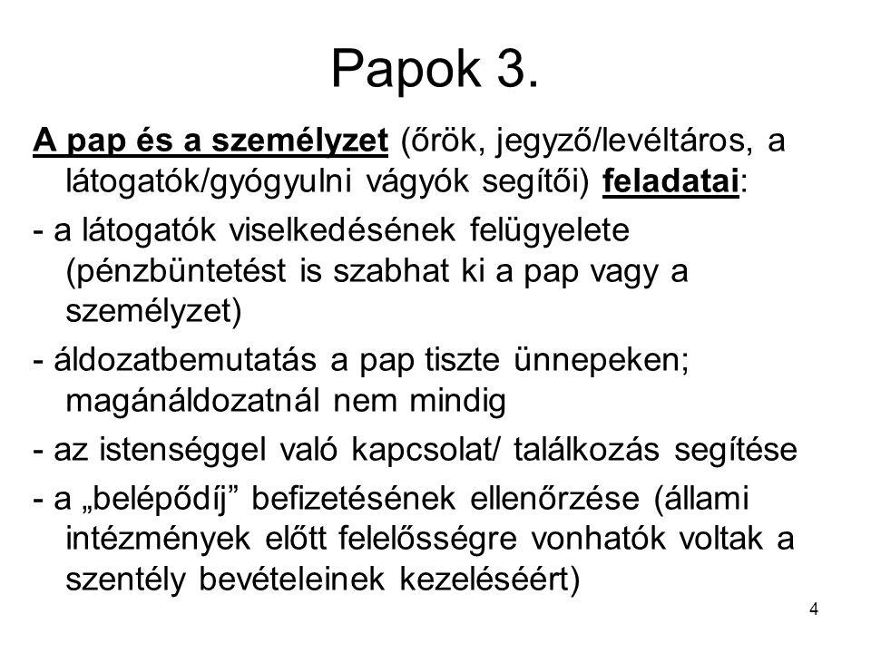 Papok 3. A pap és a személyzet (őrök, jegyző/levéltáros, a látogatók/gyógyulni vágyók segítői) feladatai: