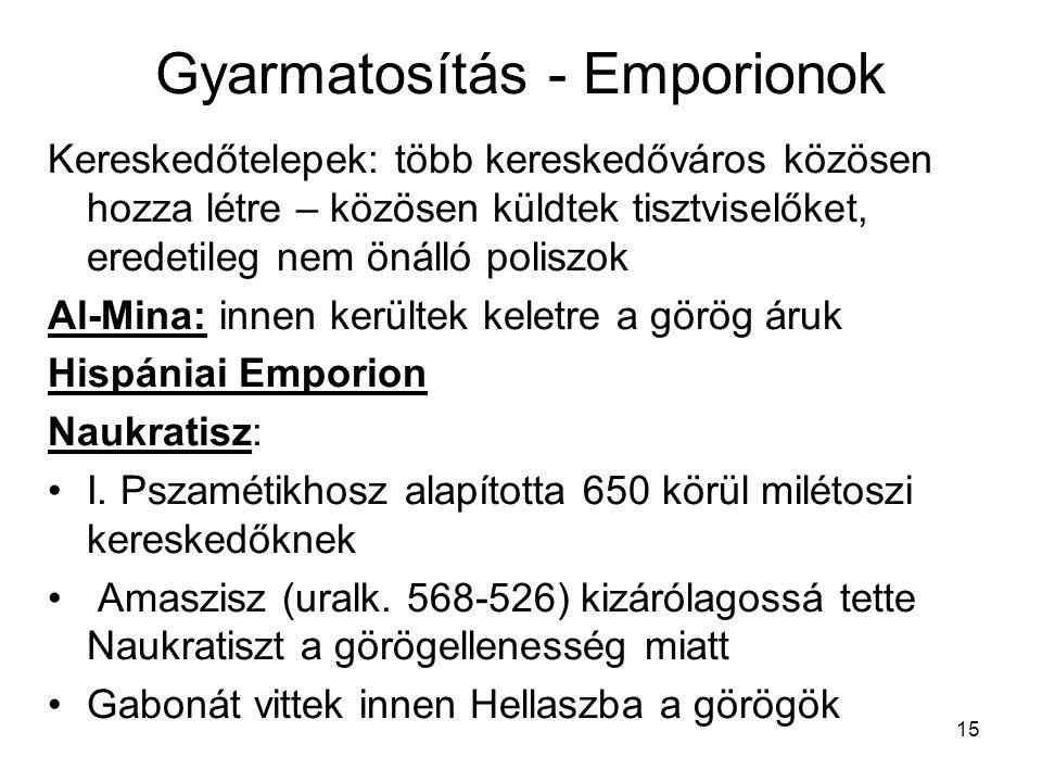 Gyarmatosítás - Emporionok