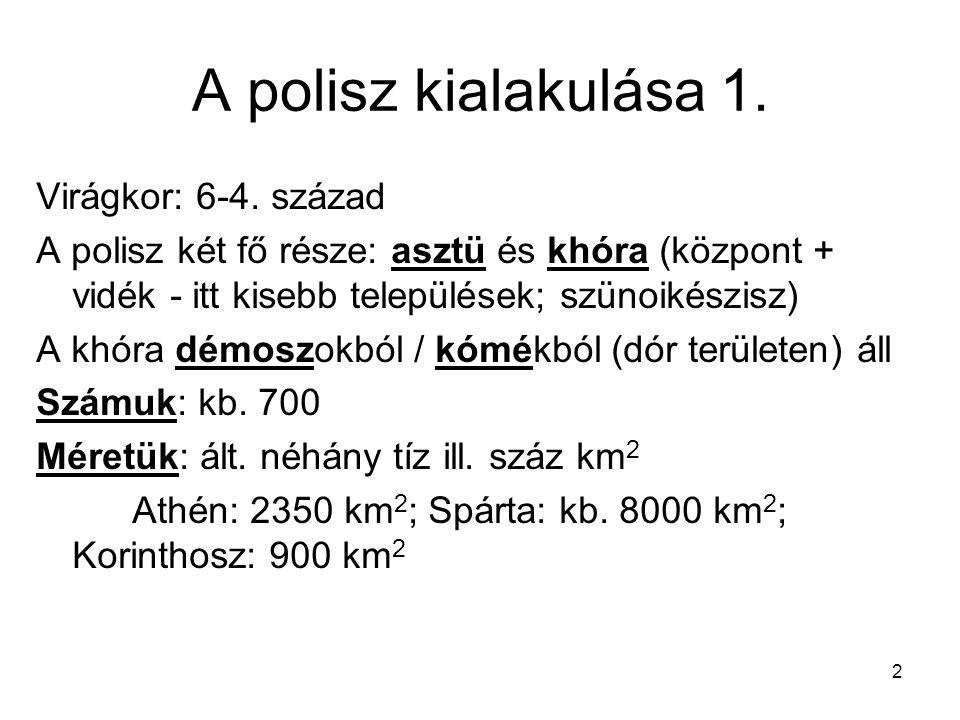 A polisz kialakulása 1. Virágkor: 6-4. század