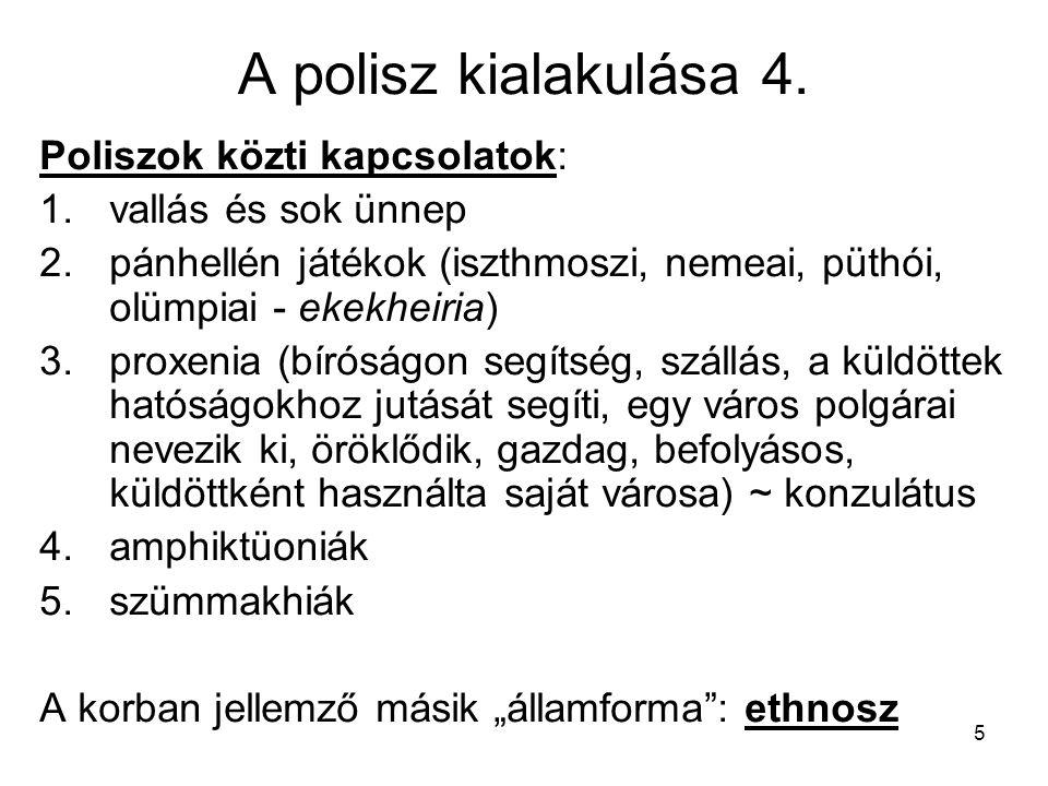 A polisz kialakulása 4. Poliszok közti kapcsolatok: