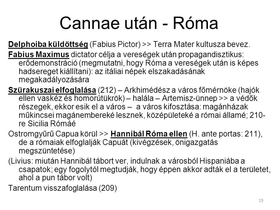 Cannae után - Róma Delphoiba küldöttség (Fabius Pictor) >> Terra Mater kultusza bevez.