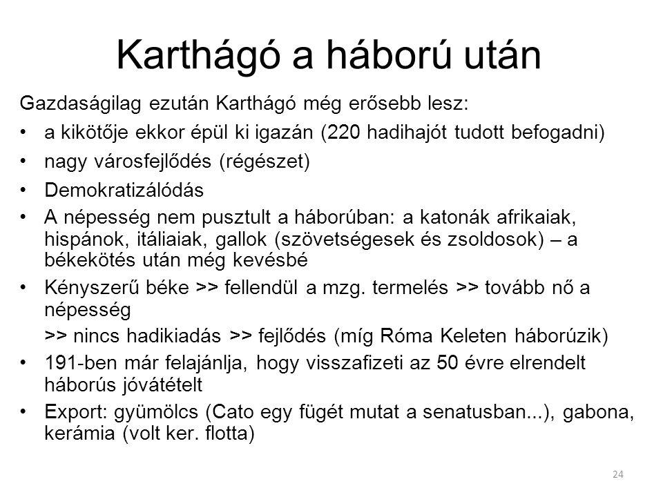 Karthágó a háború után Gazdaságilag ezután Karthágó még erősebb lesz: