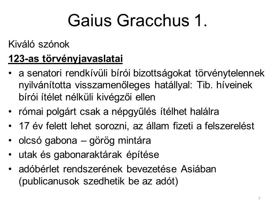 Gaius Gracchus 1. Kiváló szónok 123-as törvényjavaslatai