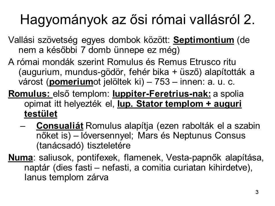 Hagyományok az ősi római vallásról 2.