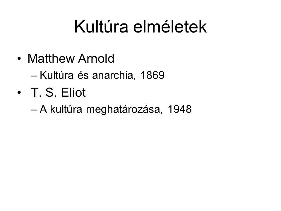 Kultúra elméletek Matthew Arnold T. S. Eliot Kultúra és anarchia, 1869