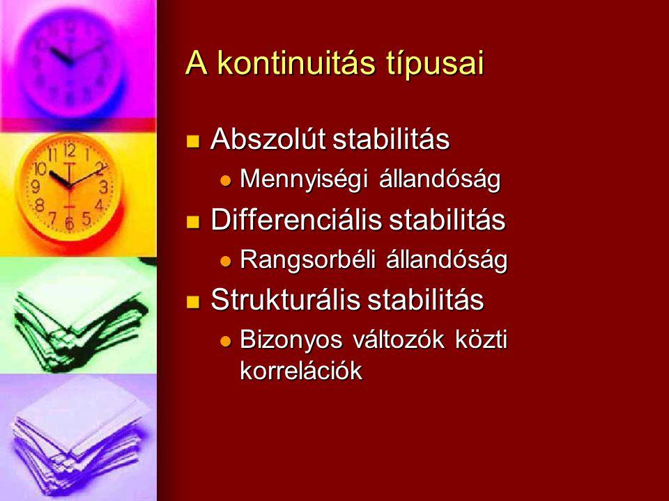 A kontinuitás típusai Abszolút stabilitás Differenciális stabilitás