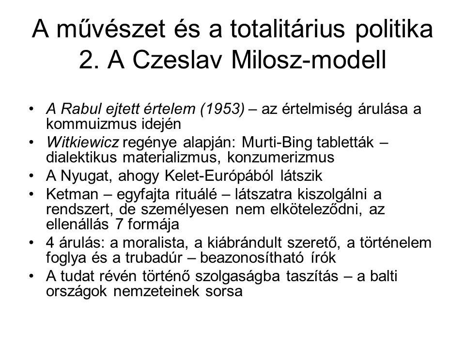 A művészet és a totalitárius politika 2. A Czeslav Milosz-modell