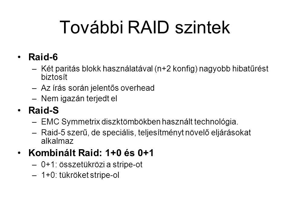 További RAID szintek Raid-6 Raid-S Kombinált Raid: 1+0 és 0+1