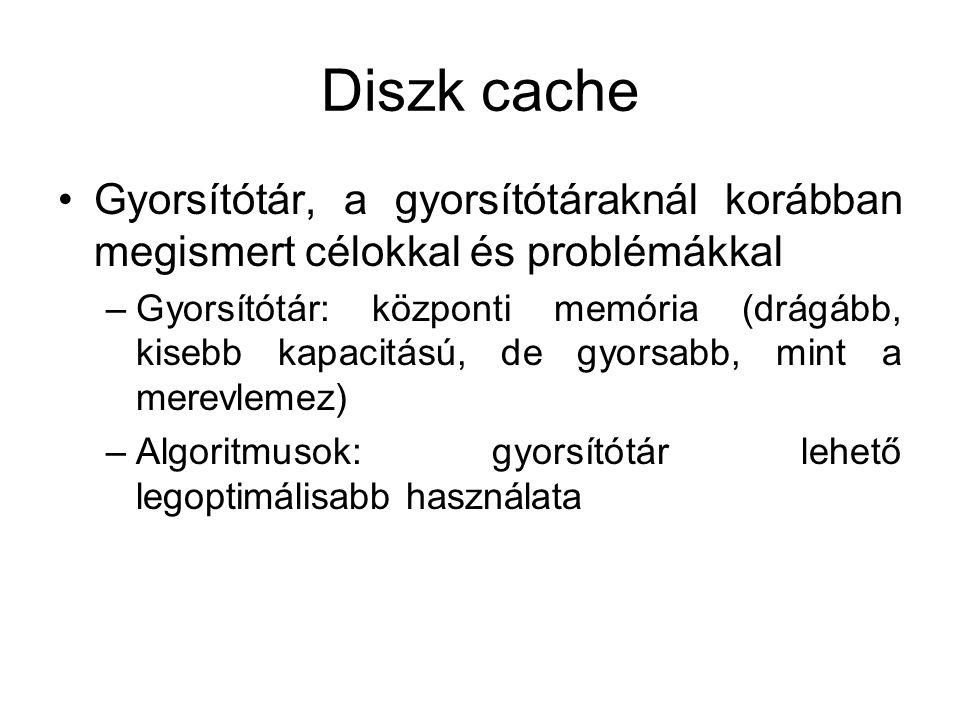 Diszk cache Gyorsítótár, a gyorsítótáraknál korábban megismert célokkal és problémákkal.