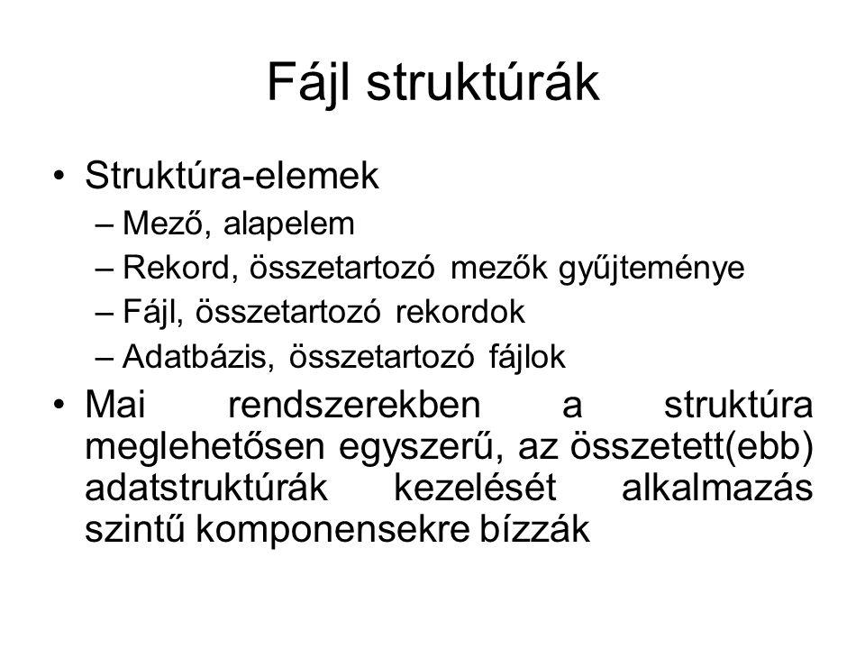 Fájl struktúrák Struktúra-elemek