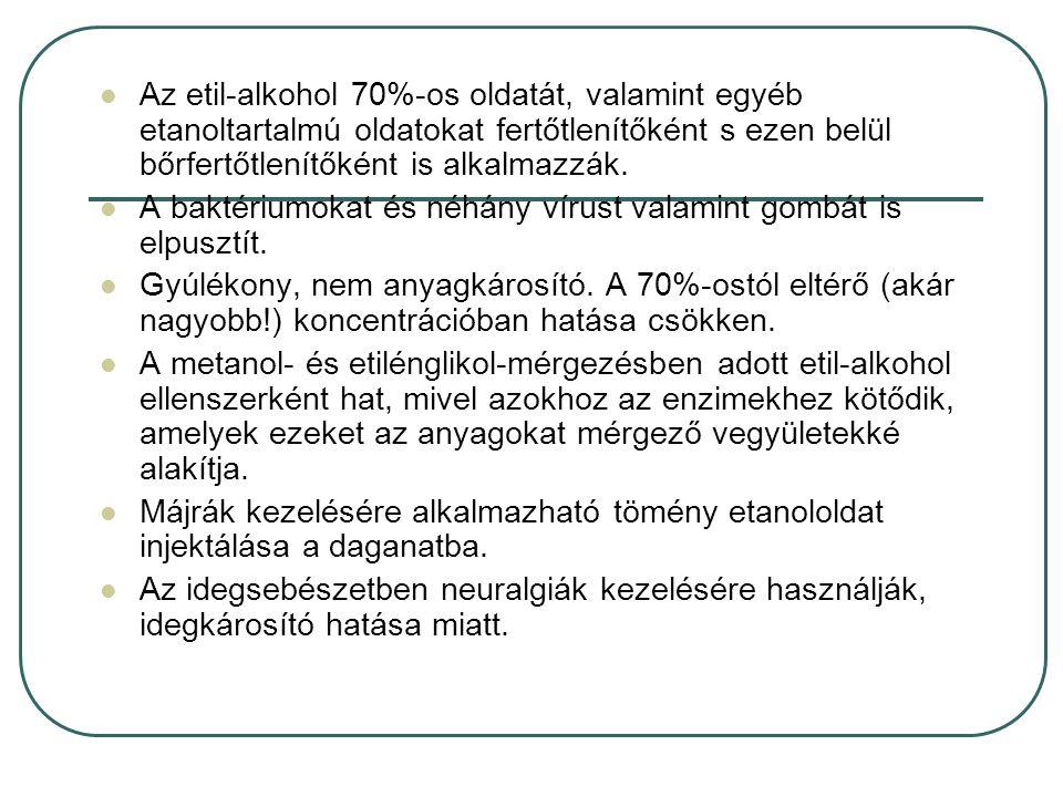 Az etil-alkohol 70%-os oldatát, valamint egyéb etanoltartalmú oldatokat fertőtlenítőként s ezen belül bőrfertőtlenítőként is alkalmazzák.