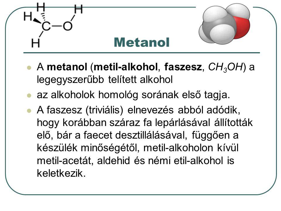 Metanol A metanol (metil-alkohol, faszesz, CH3OH) a legegyszerűbb telített alkohol. az alkoholok homológ sorának első tagja.