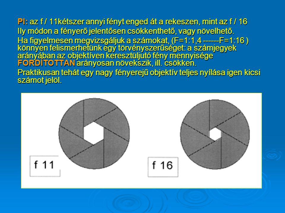 PI: az f / 11kétszer annyi fényt enged át a rekeszen, mint az f / 16