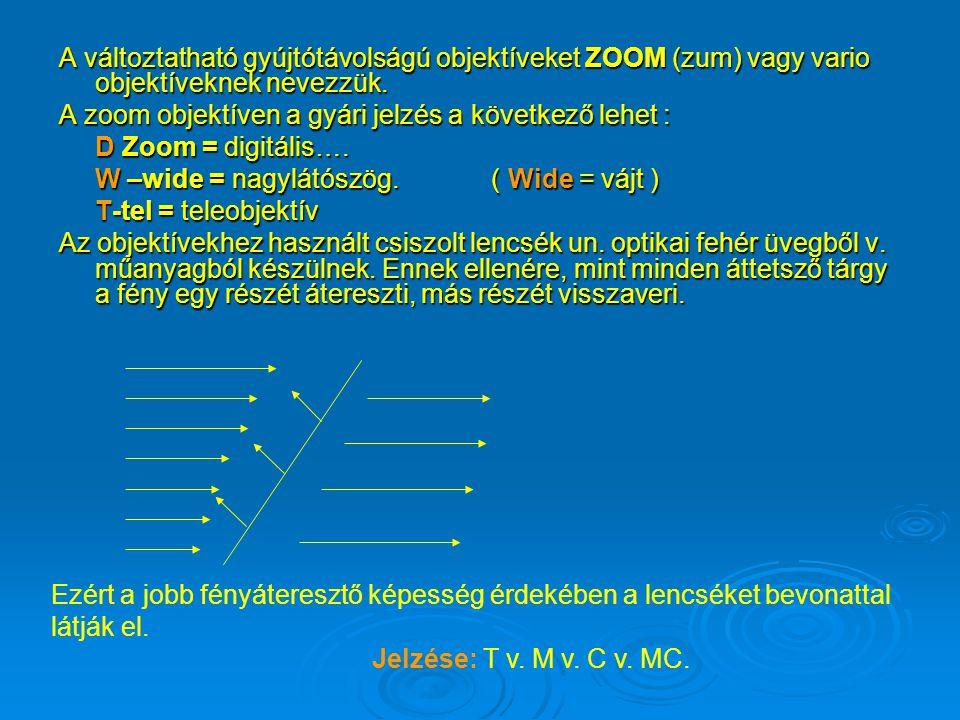 A változtatható gyújtótávolságú objektíveket ZOOM (zum) vagy vario objektíveknek nevezzük.