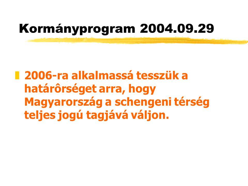 Kormányprogram 2004.09.29 2006-ra alkalmassá tesszük a határôrséget arra, hogy Magyarország a schengeni térség teljes jogú tagjává váljon.