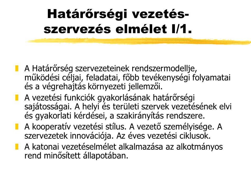 Határőrségi vezetés-szervezés elmélet I/1.