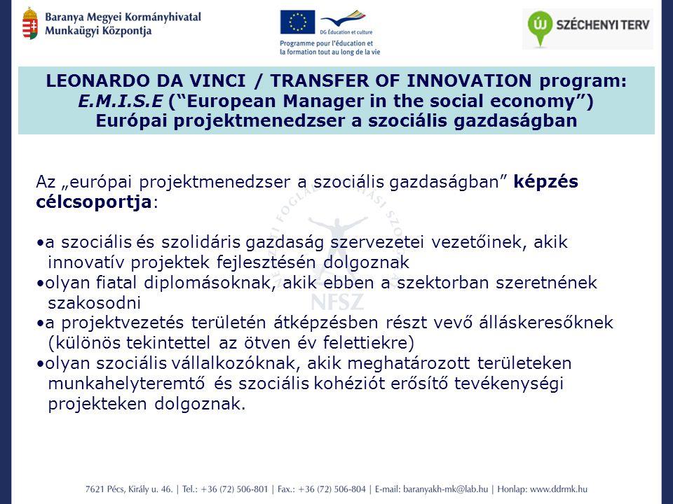 Európai projektmenedzser a szociális gazdaságban