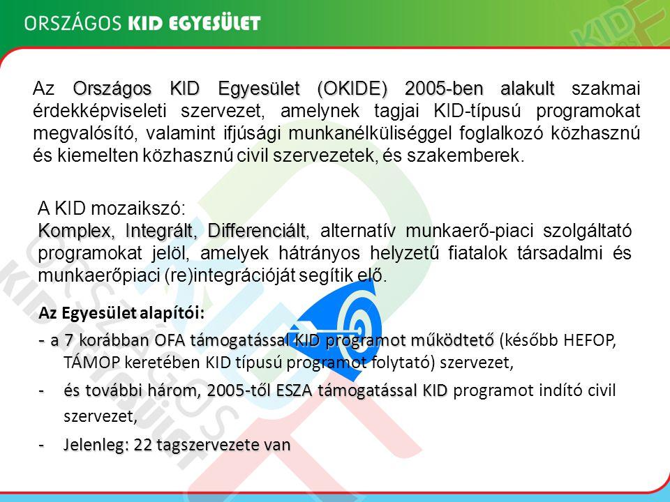 Az Országos KID Egyesület (OKIDE) 2005-ben alakult szakmai érdekképviseleti szervezet, amelynek tagjai KID-típusú programokat megvalósító, valamint ifjúsági munkanélküliséggel foglalkozó közhasznú és kiemelten közhasznú civil szervezetek, és szakemberek.