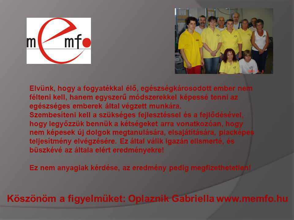 Köszönöm a figyelmüket: Oplaznik Gabriella www.memfo.hu