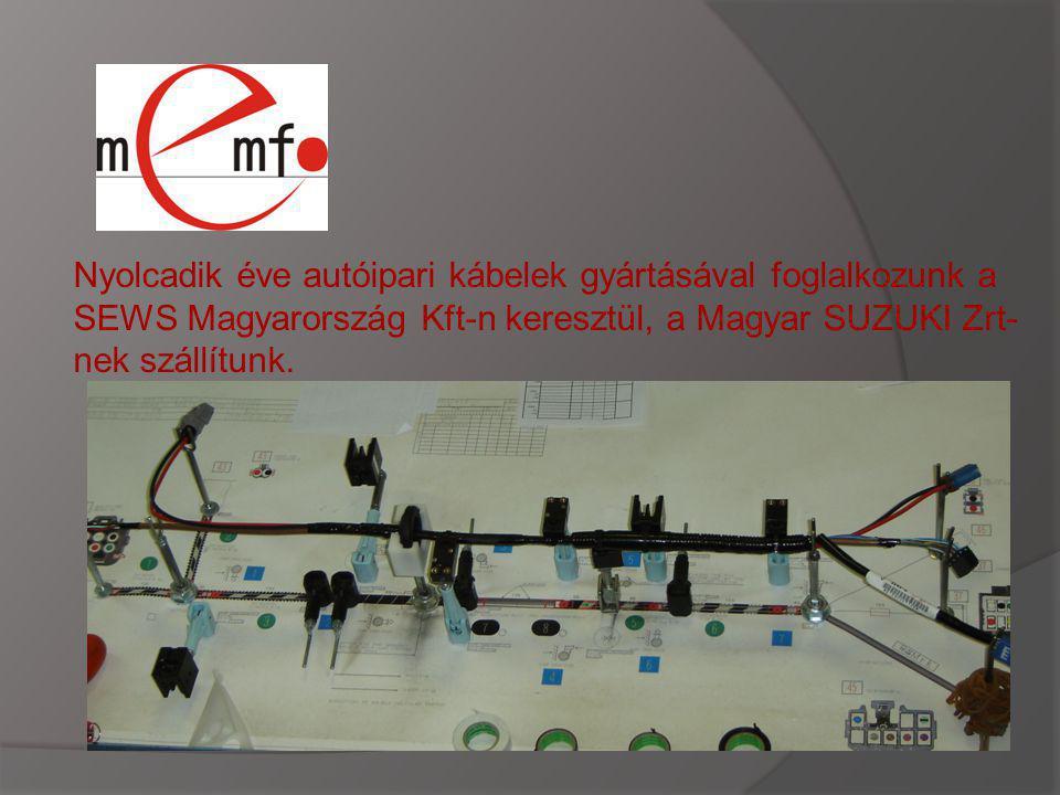 Nyolcadik éve autóipari kábelek gyártásával foglalkozunk a SEWS Magyarország Kft-n keresztül, a Magyar SUZUKI Zrt-nek szállítunk.