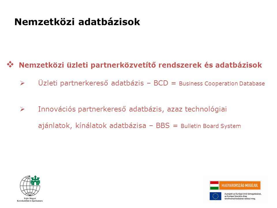 Nemzetközi adatbázisok