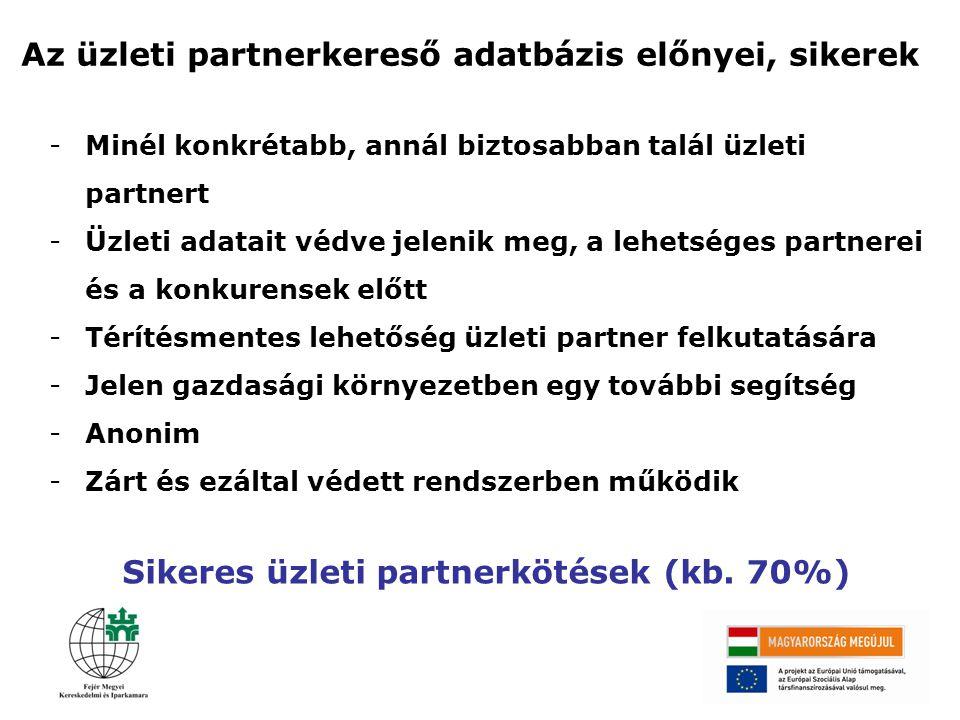 Sikeres üzleti partnerkötések (kb. 70%)