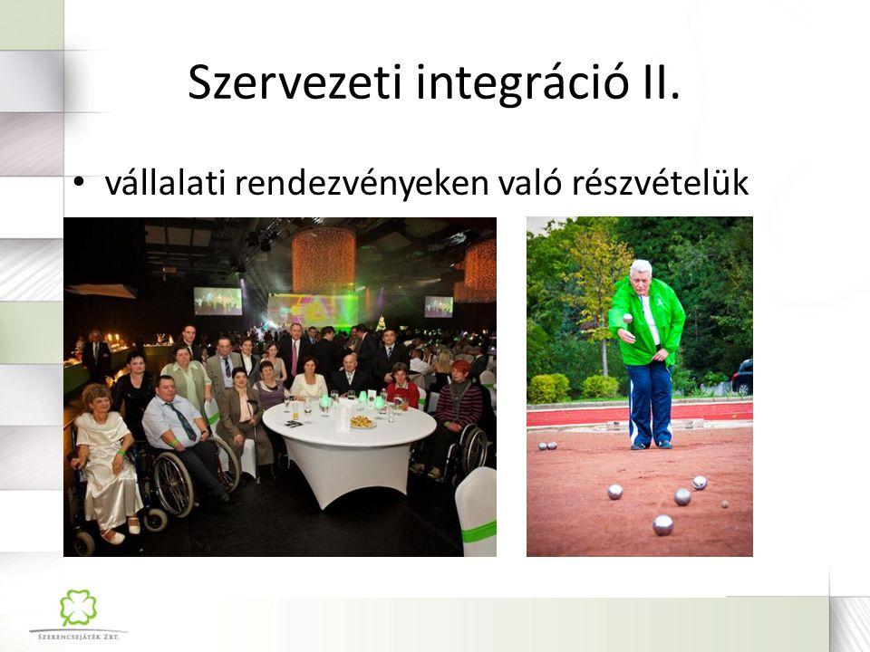 Szervezeti integráció II.