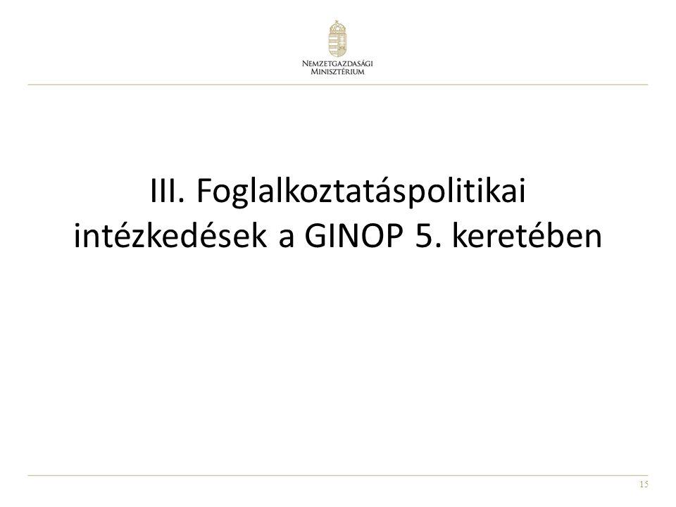 III. Foglalkoztatáspolitikai intézkedések a GINOP 5. keretében