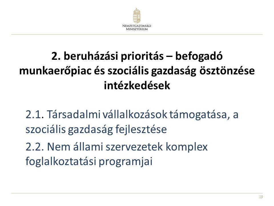 2. beruházási prioritás – befogadó munkaerőpiac és szociális gazdaság ösztönzése intézkedések
