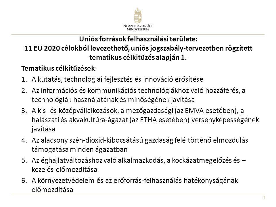 Uniós források felhasználási területe: 11 EU 2020 célokból levezethető, uniós jogszabály-tervezetben rögzített tematikus célkitűzés alapján 1.
