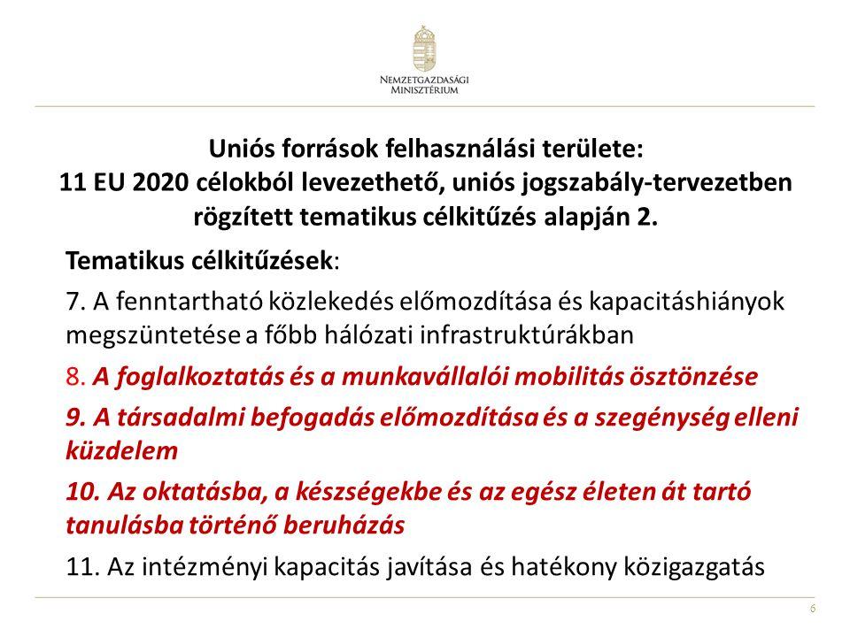 Uniós források felhasználási területe: 11 EU 2020 célokból levezethető, uniós jogszabály-tervezetben rögzített tematikus célkitűzés alapján 2.