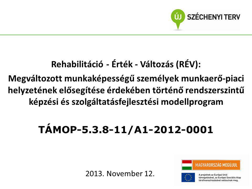 Rehabilitáció - Érték - Változás (RÉV): Megváltozott munkaképességű személyek munkaerő-piaci helyzetének elősegítése érdekében történő rendszerszintű képzési és szolgáltatásfejlesztési modellprogram TÁMOP-5.3.8-11/A1-2012-0001