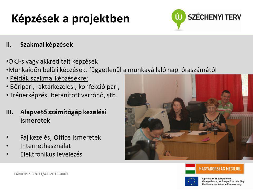 Képzések a projektben Szakmai képzések OKJ-s vagy akkreditált képzések