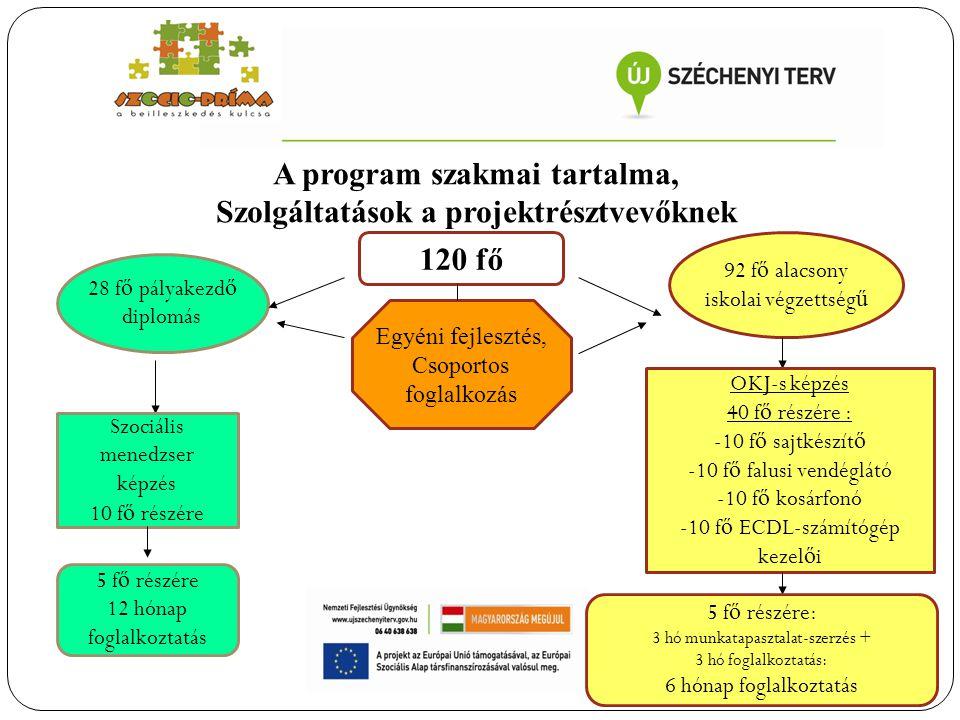 A program szakmai tartalma, Szolgáltatások a projektrésztvevőknek