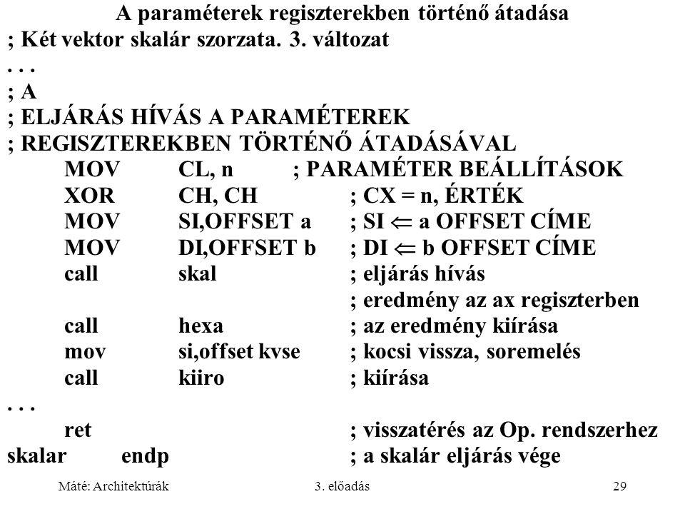 A paraméterek regiszterekben történő átadása