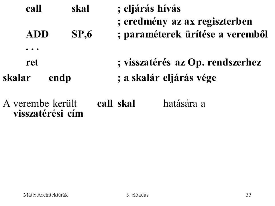 call skal ; eljárás hívás ; eredmény az ax regiszterben