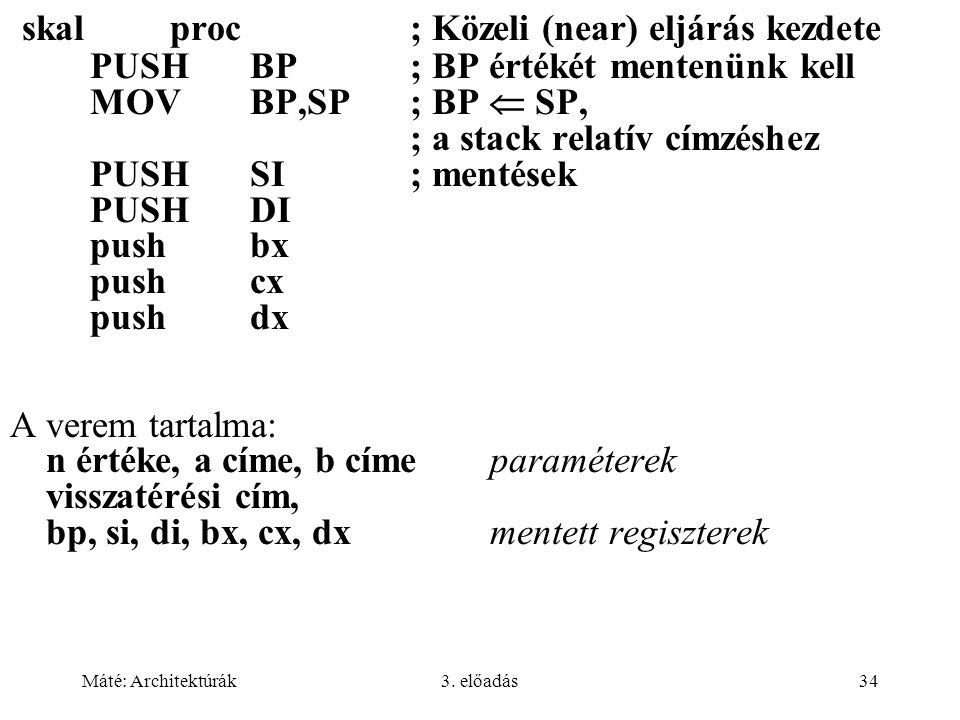 skal proc ; Közeli (near) eljárás kezdete