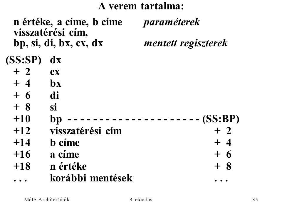 n értéke, a címe, b címe paraméterek visszatérési cím,