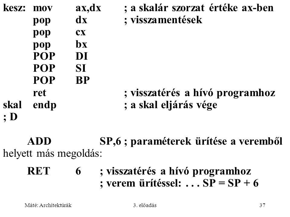 kesz: mov ax,dx ; a skalár szorzat értéke ax-ben
