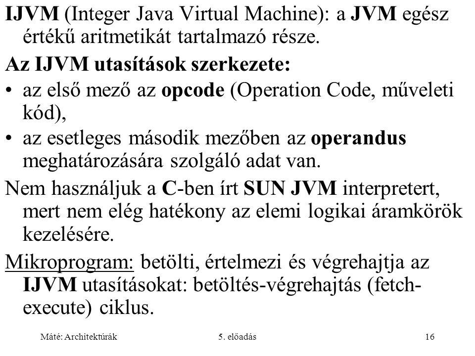 Az IJVM utasítások szerkezete: