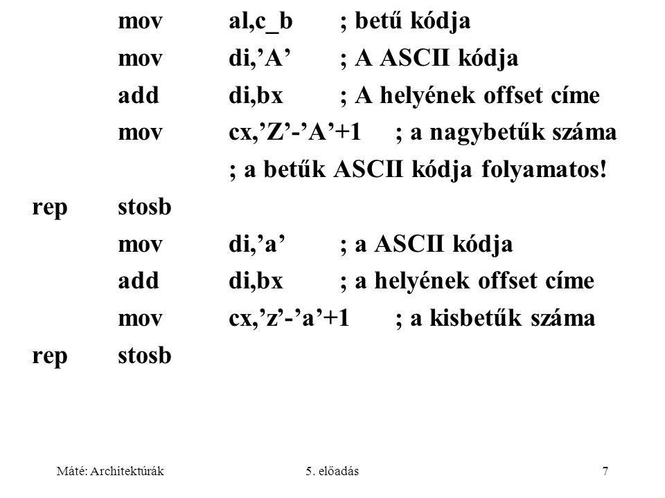 mov di,'A' ; A ASCII kódja add di,bx ; A helyének offset címe