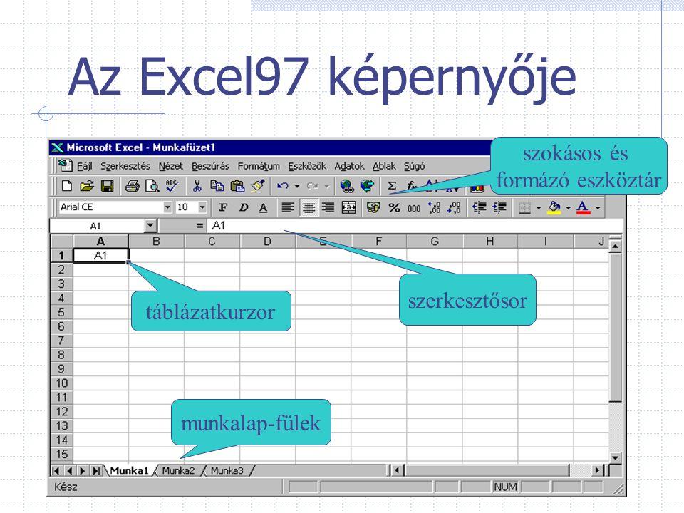 Az Excel97 képernyője szokásos és formázó eszköztár szerkesztősor