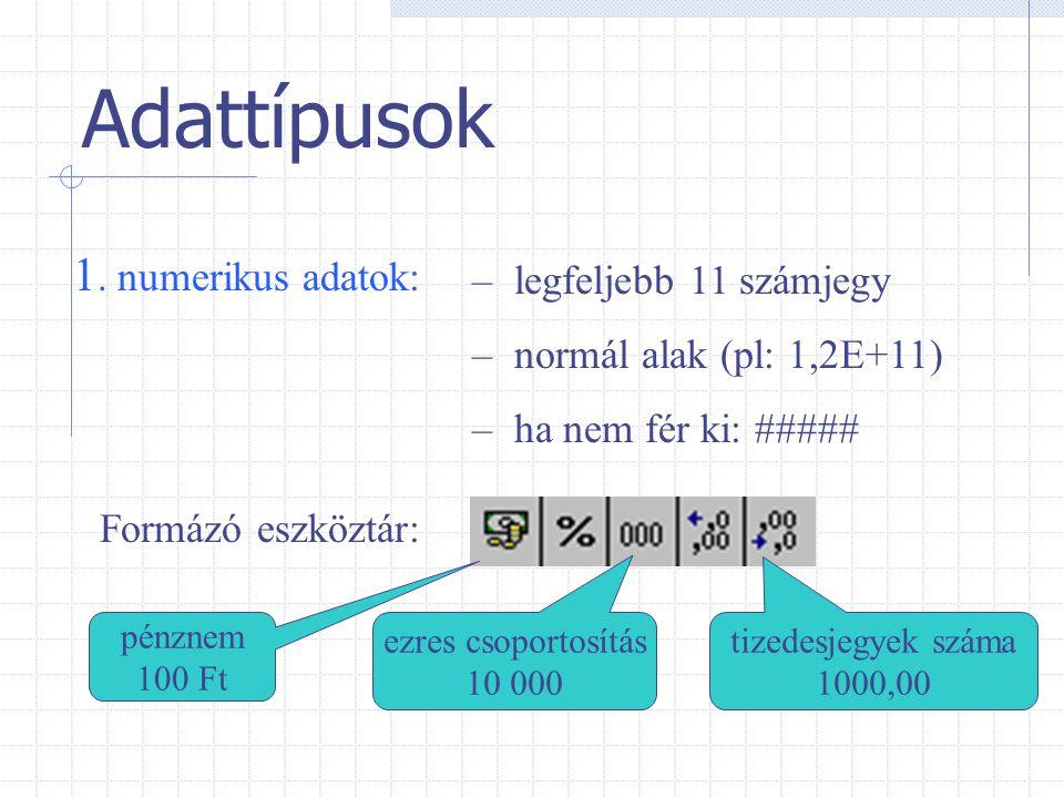 Adattípusok 1. numerikus adatok: legfeljebb 11 számjegy