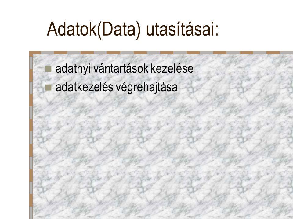 Adatok(Data) utasításai: