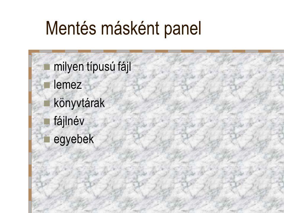 Mentés másként panel milyen típusú fájl lemez könyvtárak fájlnév